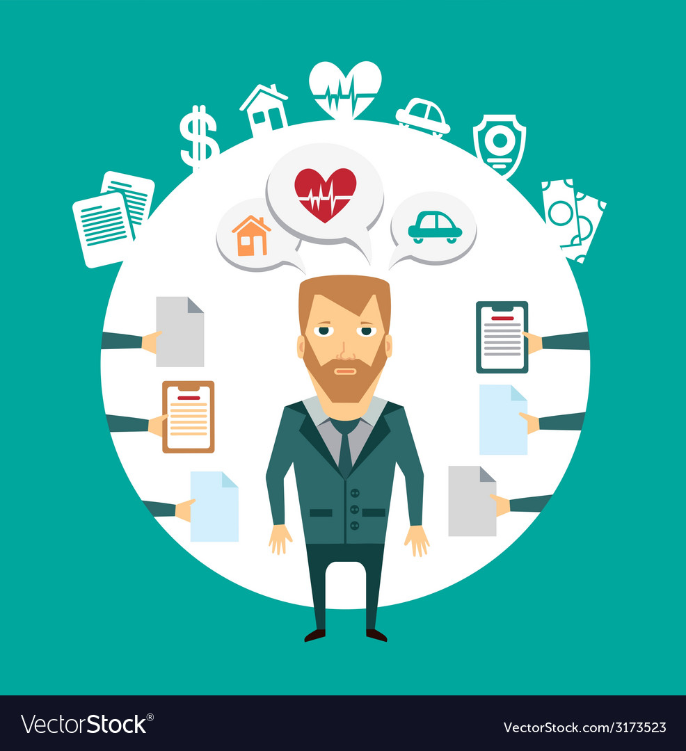 Insurance agent works with clients vector | Price: 1 Credit (USD $1)