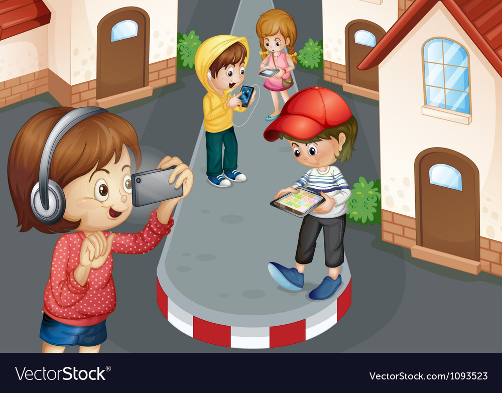 Kids on road vector | Price: 1 Credit (USD $1)