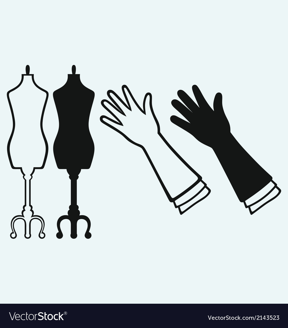 Long glove and tailors mannequin vector | Price: 1 Credit (USD $1)