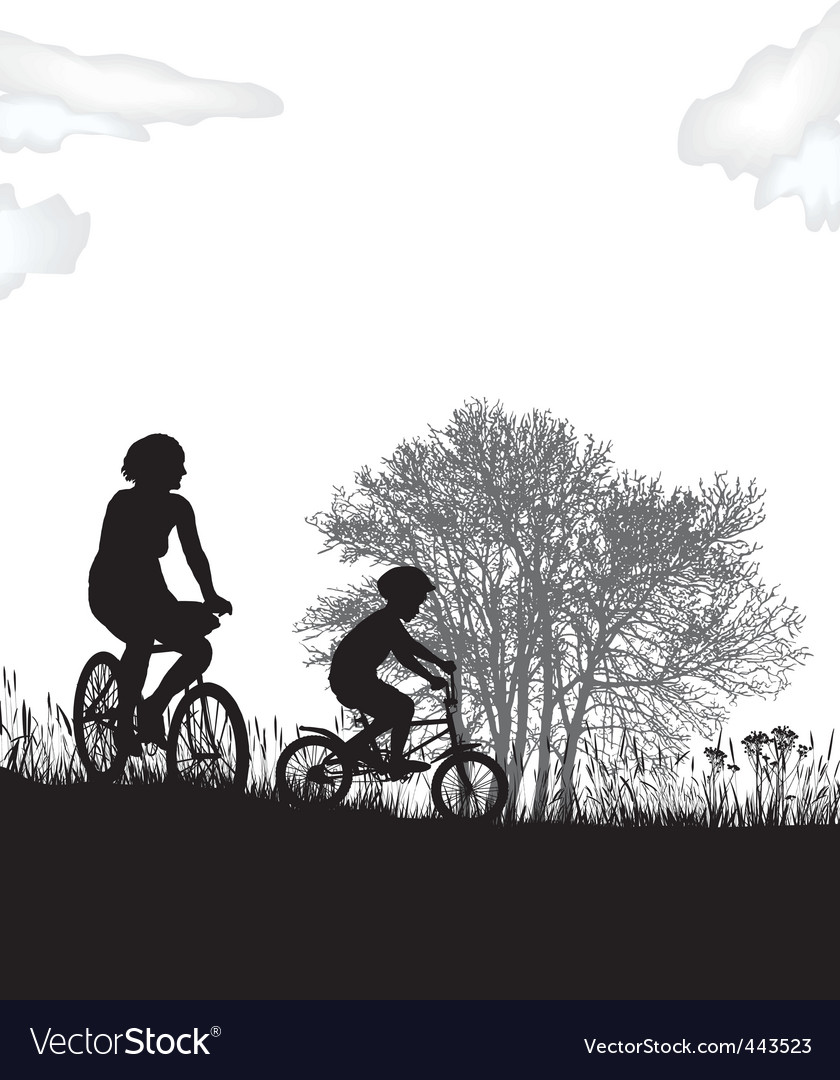 Mother and son on bikes vector | Price: 1 Credit (USD $1)