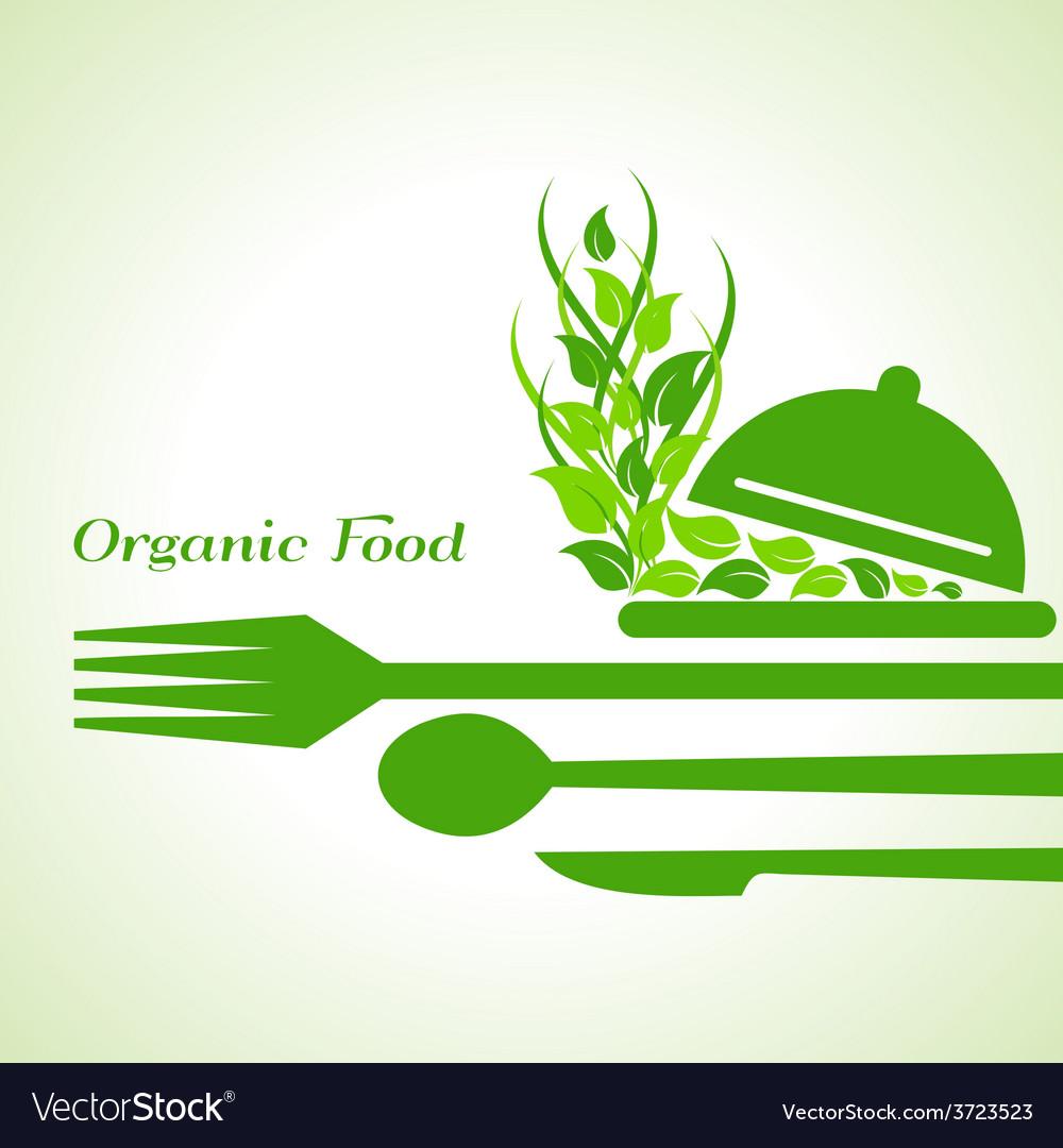 Organic food label design concept with restaurant vector | Price: 1 Credit (USD $1)