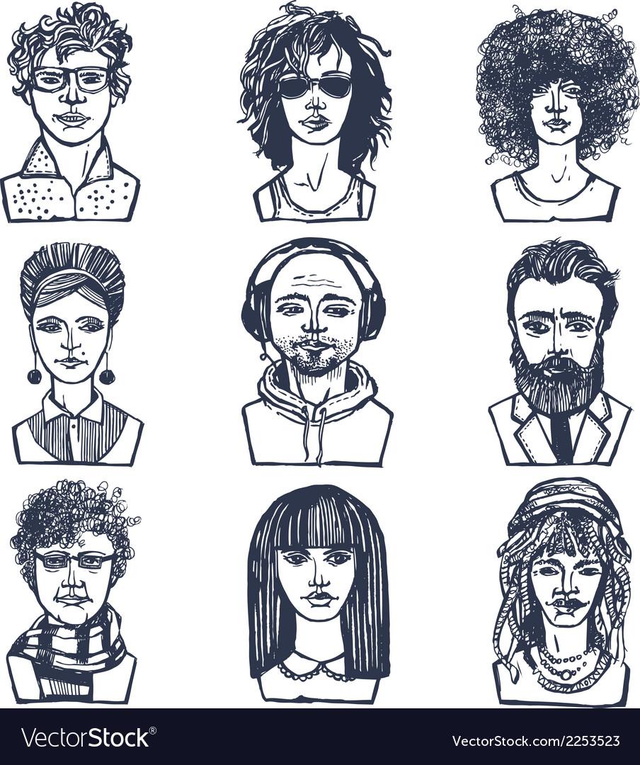 Sketch people portraits set vector | Price: 1 Credit (USD $1)