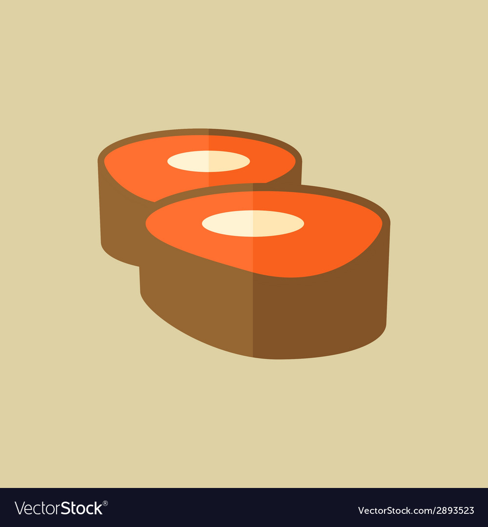 Sushi food flat icon vector   Price: 1 Credit (USD $1)