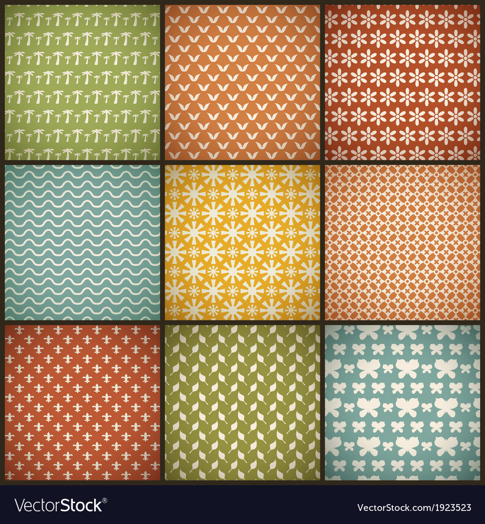 Vintage summer seamless patterns with swath tiling vector | Price: 1 Credit (USD $1)