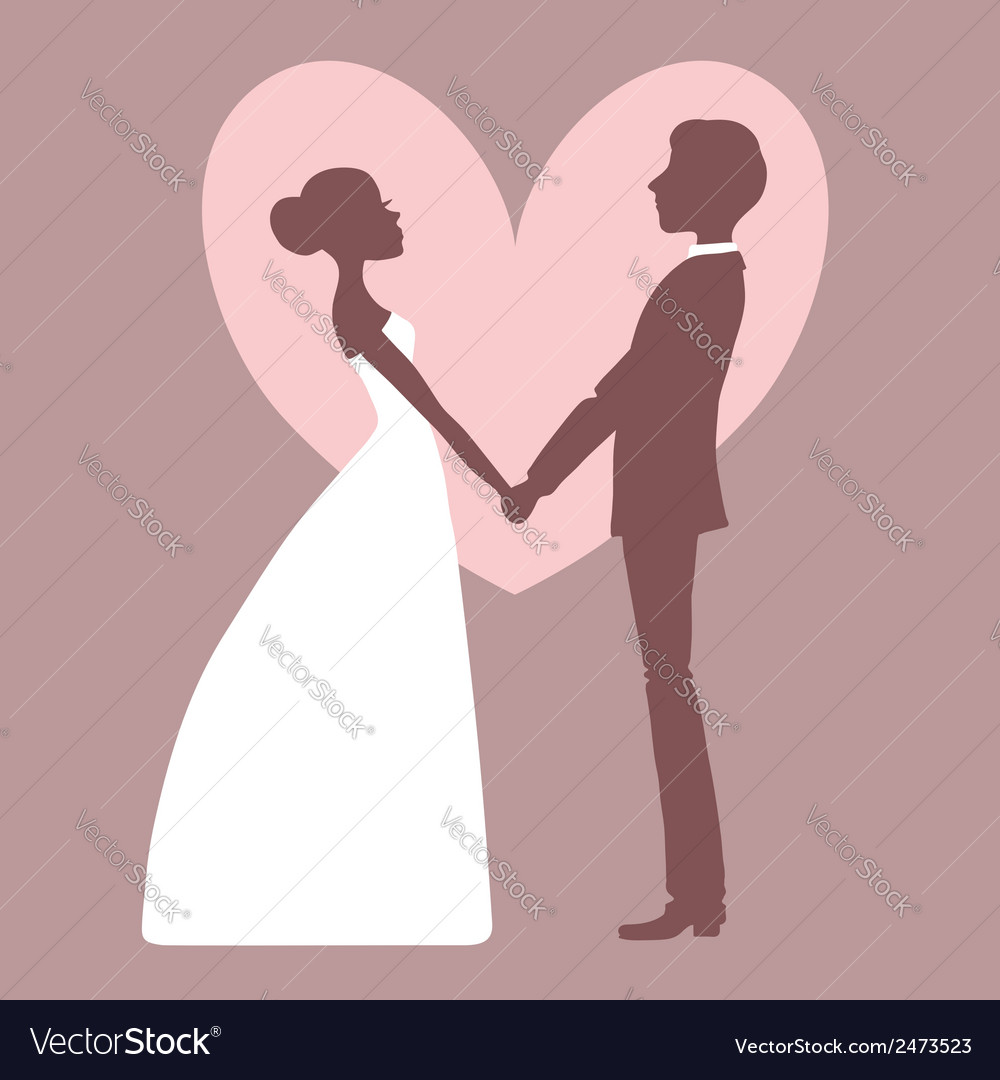 Wedding invitation silhouette of bride and groom vector | Price: 1 Credit (USD $1)