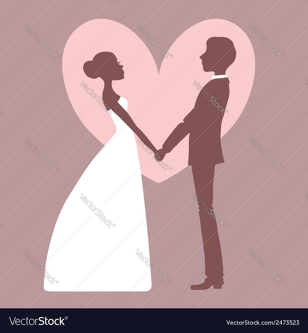 Wedding invitation silhouette of bride and groom vector   Price: 1 Credit (USD $1)
