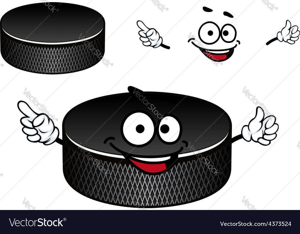 Black rubber ice hockey puck cartoon character vector | Price: 1 Credit (USD $1)