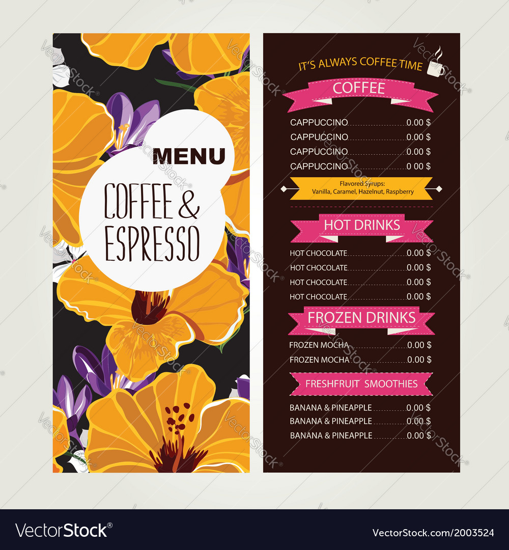 Cafe menu template design vector | Price: 1 Credit (USD $1)