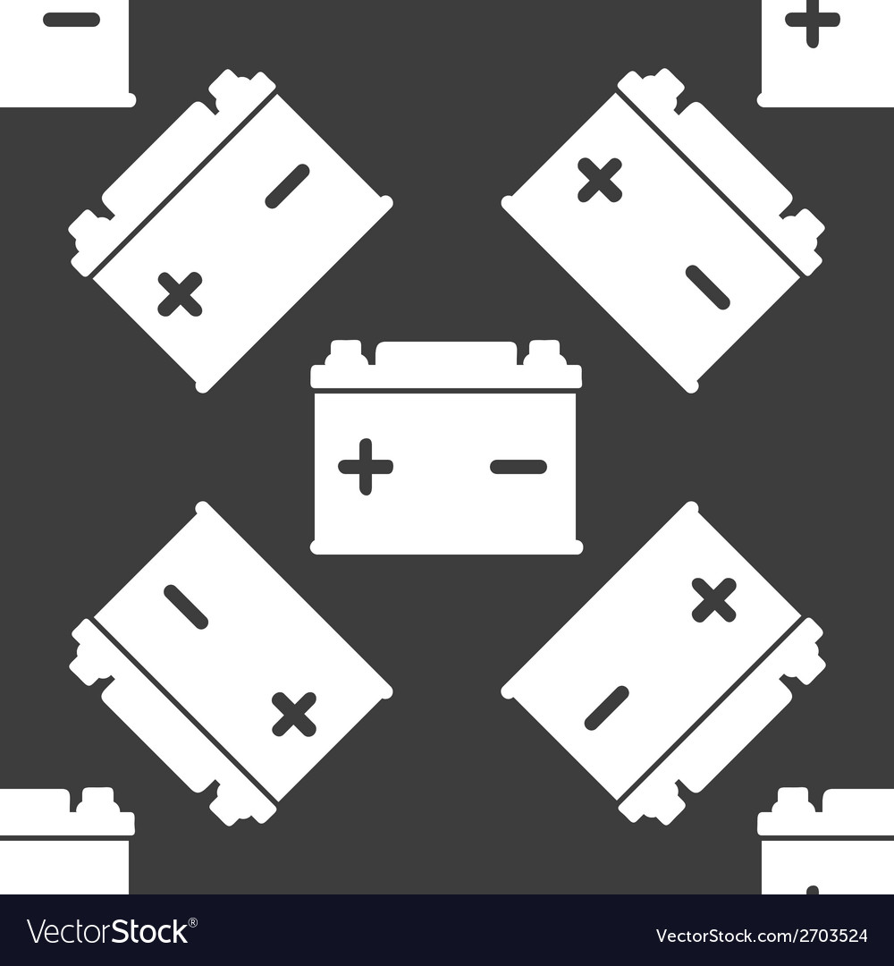 Car battery web icon flat design seamless gray vector | Price: 1 Credit (USD $1)