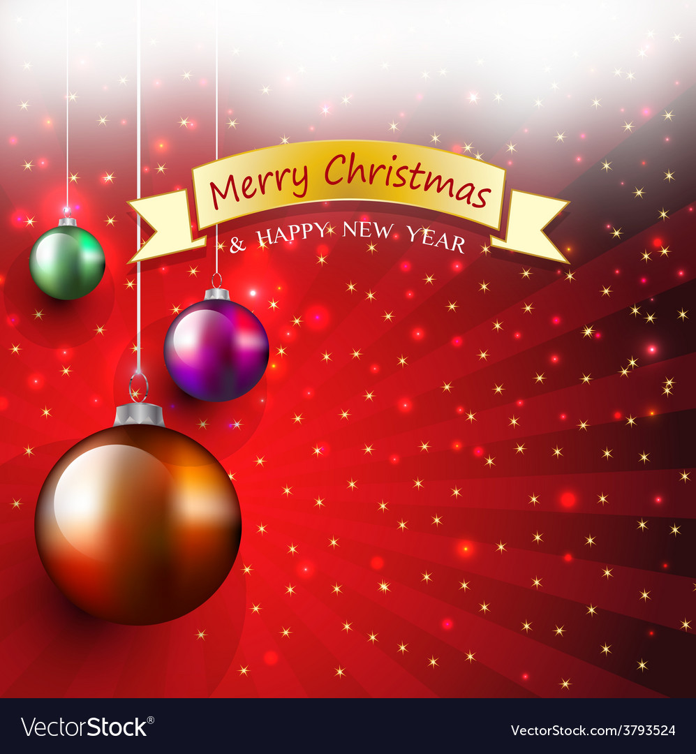 Christmas greeting card with bauble and ribbon bow vector | Price: 1 Credit (USD $1)