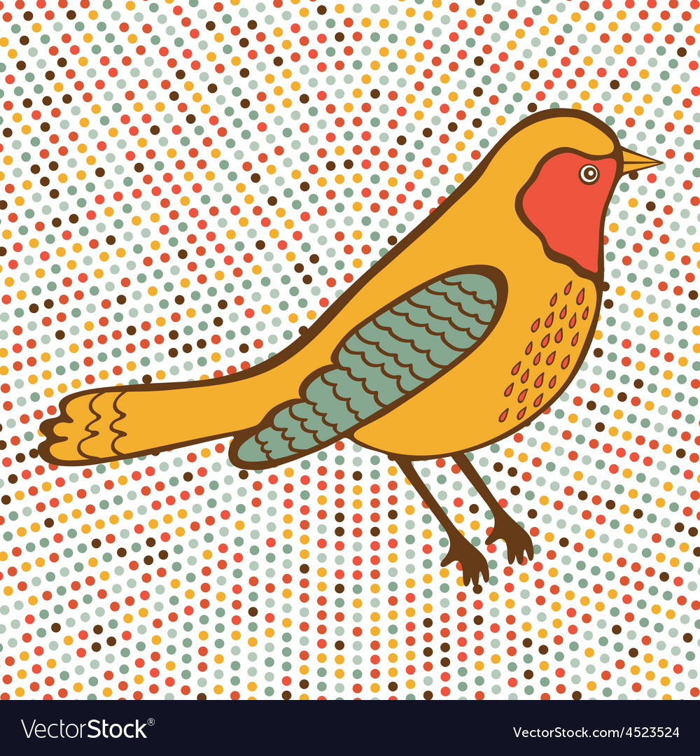 Colorful bird on dotted background vector | Price: 1 Credit (USD $1)
