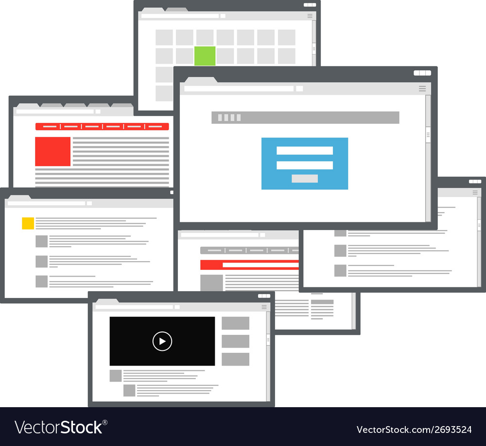 Different browser windows communication scheme vector | Price: 1 Credit (USD $1)