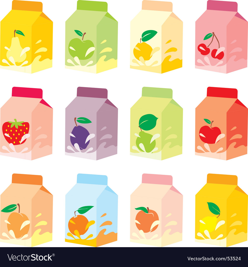 Fruit yogurt carton boxes vector | Price: 1 Credit (USD $1)