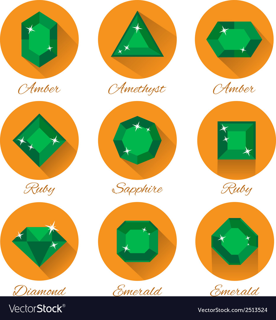 Gems icons set vector | Price: 1 Credit (USD $1)