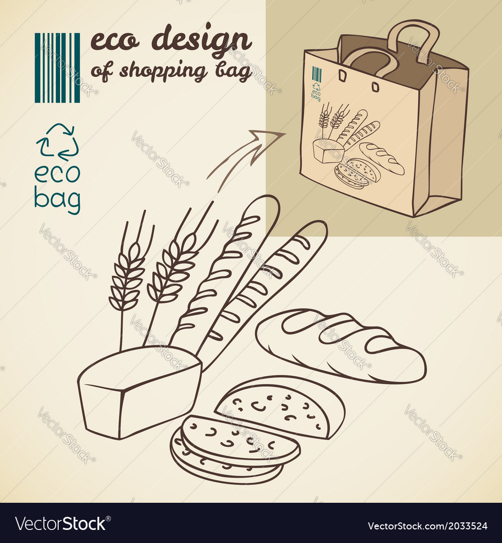 Line drawing of bakery products for shopping bag vector | Price: 1 Credit (USD $1)