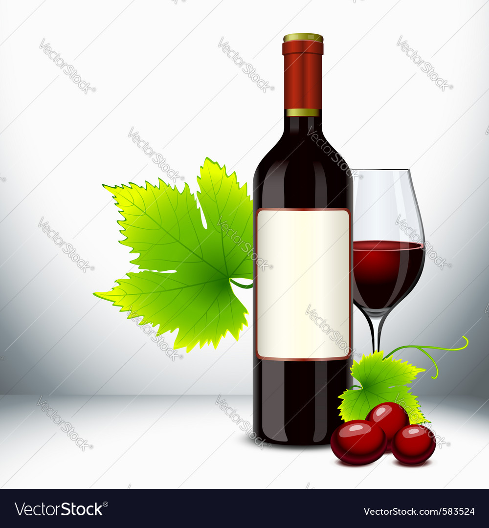 Red wine bottle vector | Price: 3 Credit (USD $3)