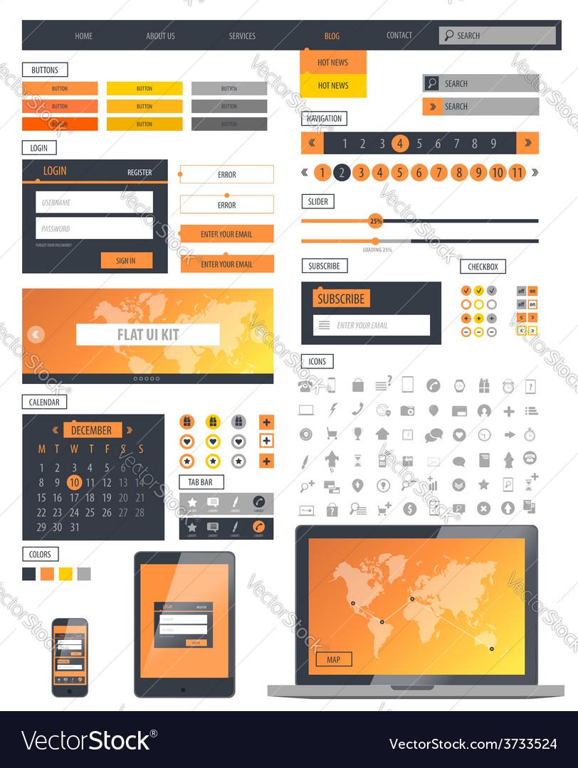 Ui kit responsive web design icons template mockup vector | Price: 1 Credit (USD $1)