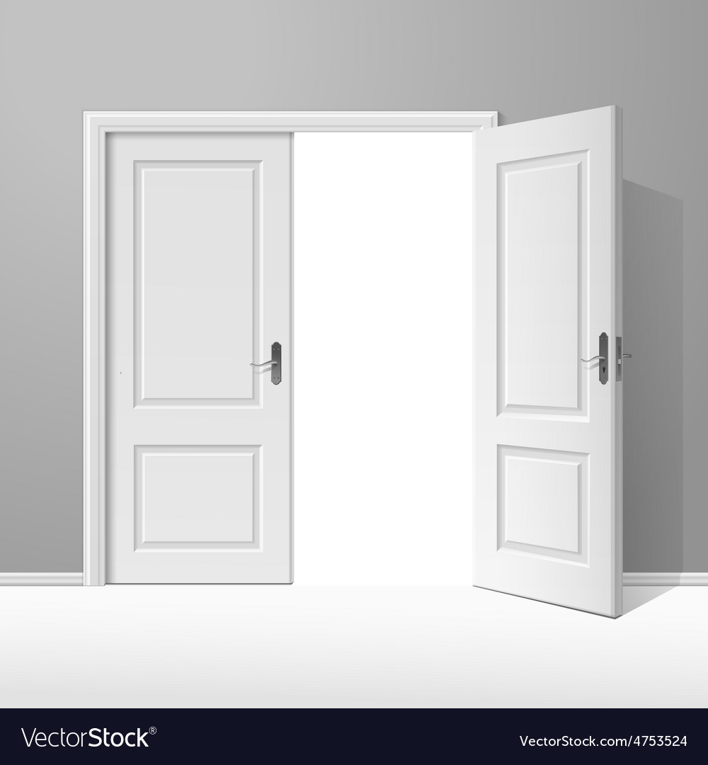White open door with frame vector | Price: 3 Credit (USD $3)