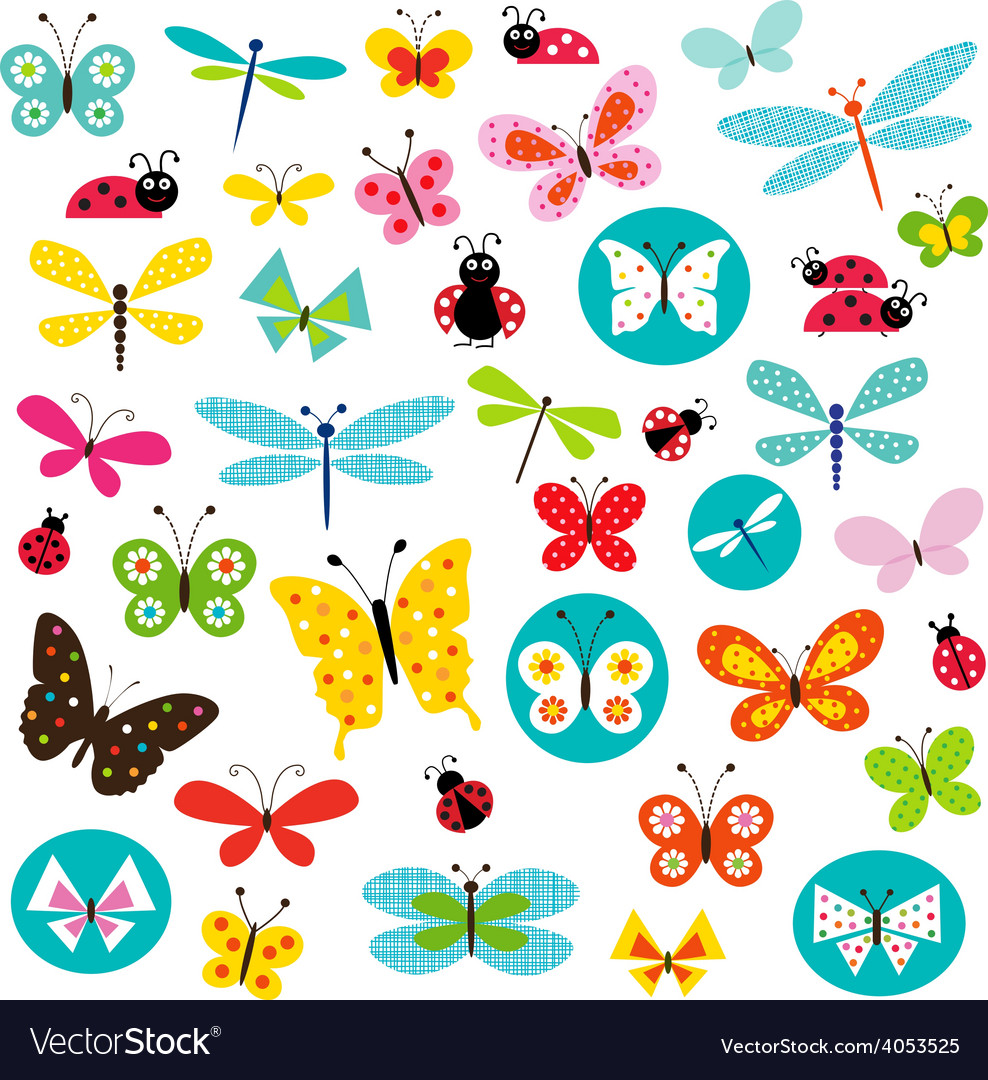 Butterflies and ladybugs vector | Price: 1 Credit (USD $1)