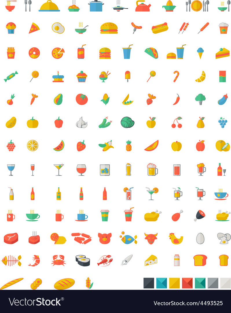 Food and beverages flat icons vector | Price: 1 Credit (USD $1)