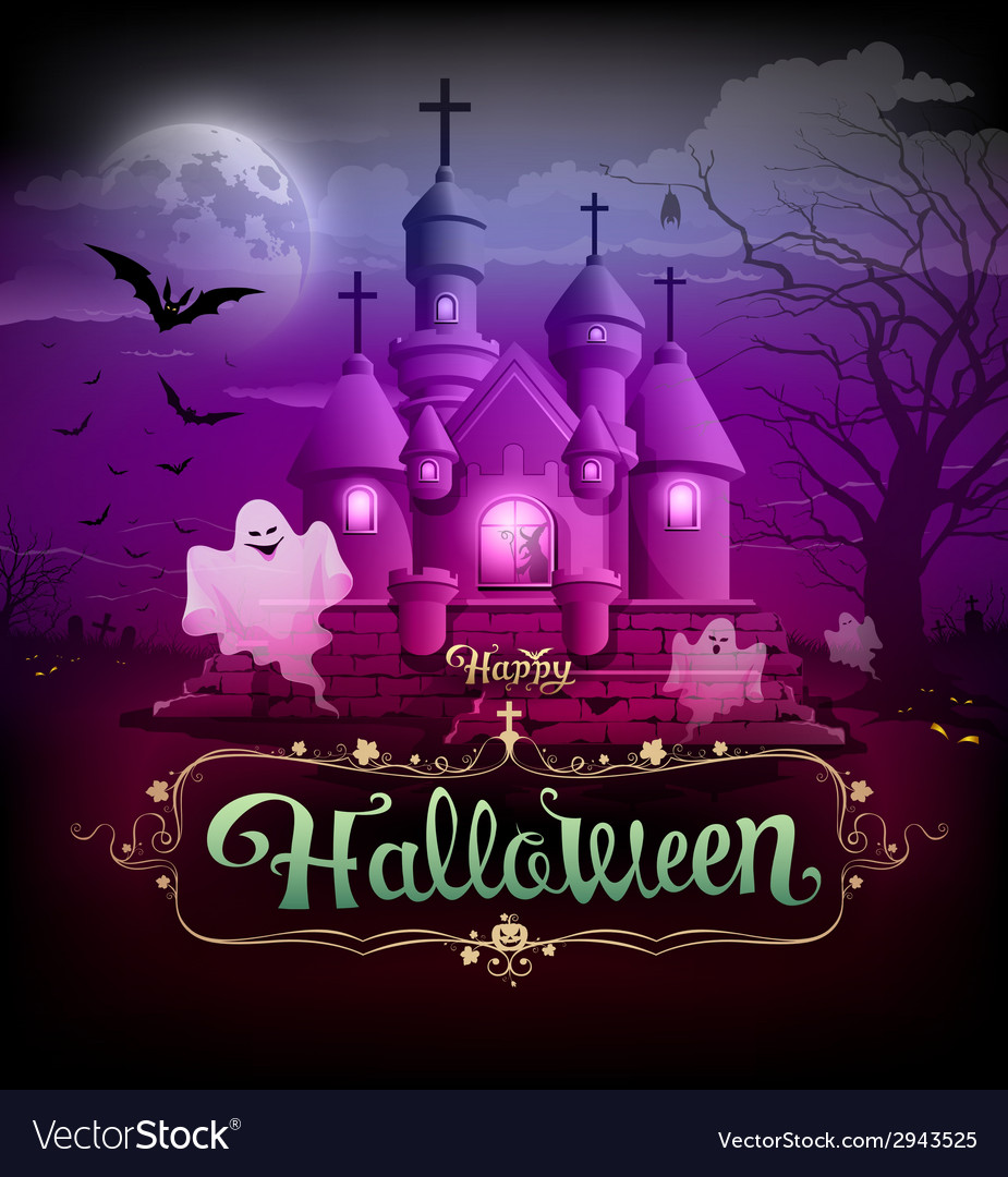 Happy halloween castle ghost on the moon design vector | Price: 3 Credit (USD $3)