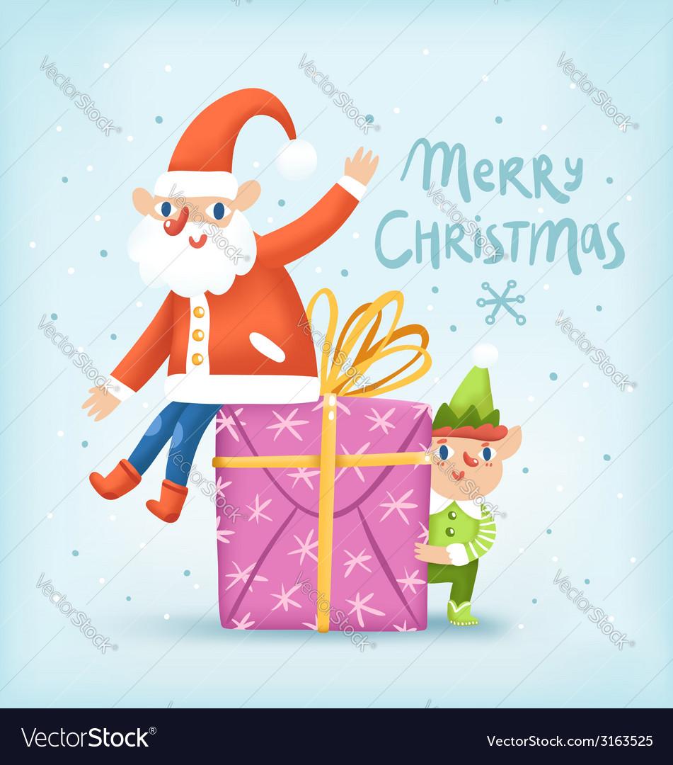 Santa elf and a present christmas greeting card vector | Price: 1 Credit (USD $1)