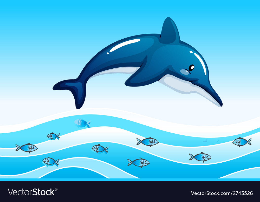 A sea with a big dolphin and a school of small vector | Price: 1 Credit (USD $1)