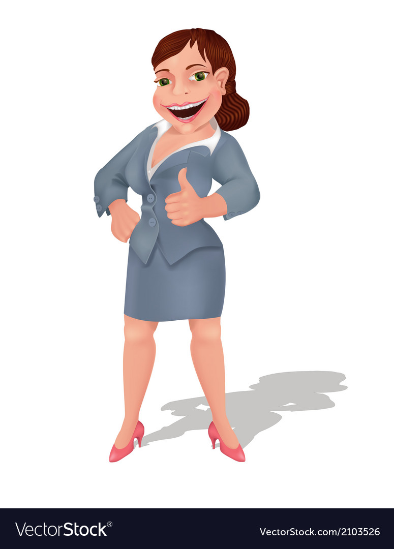 Businesswoman shows thumbs up sign vector | Price: 1 Credit (USD $1)