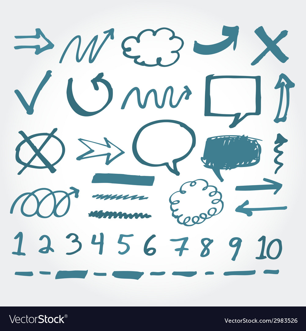 Collection of hand drawn highlighter elements vector | Price: 1 Credit (USD $1)