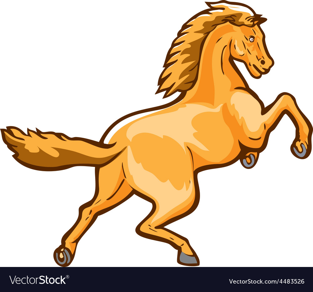 Colt horse prancing rear isolated retro vector | Price: 1 Credit (USD $1)