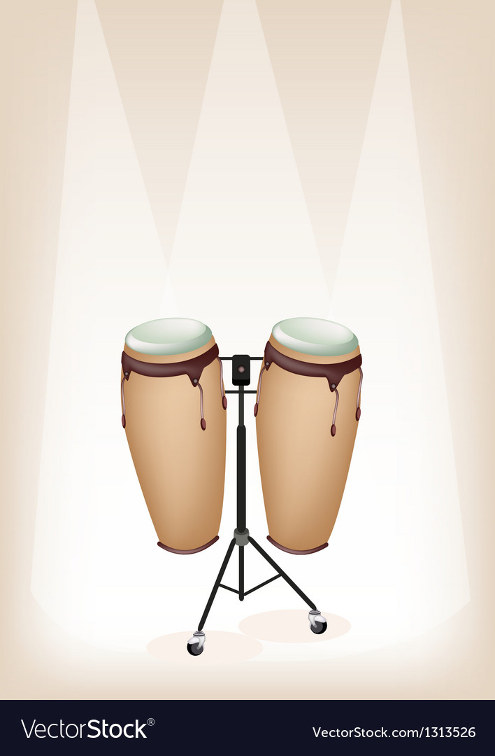 Congas with stand on brown stage background vector   Price: 1 Credit (USD $1)