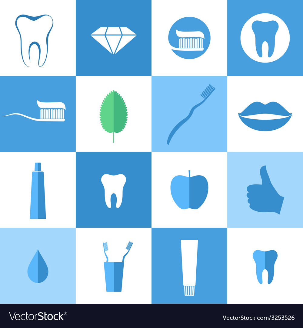 Dental hygiene icon set vector | Price: 1 Credit (USD $1)