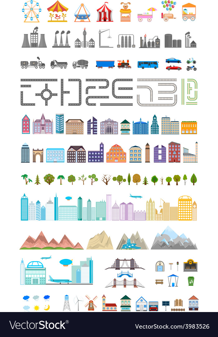 Elements of the modern big city or village vector | Price: 1 Credit (USD $1)
