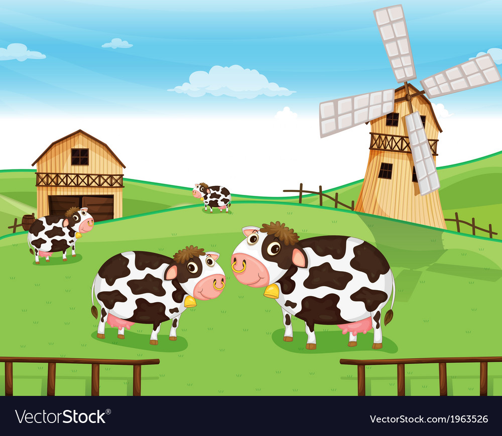 Goats at the farm with a windmill vector | Price: 3 Credit (USD $3)