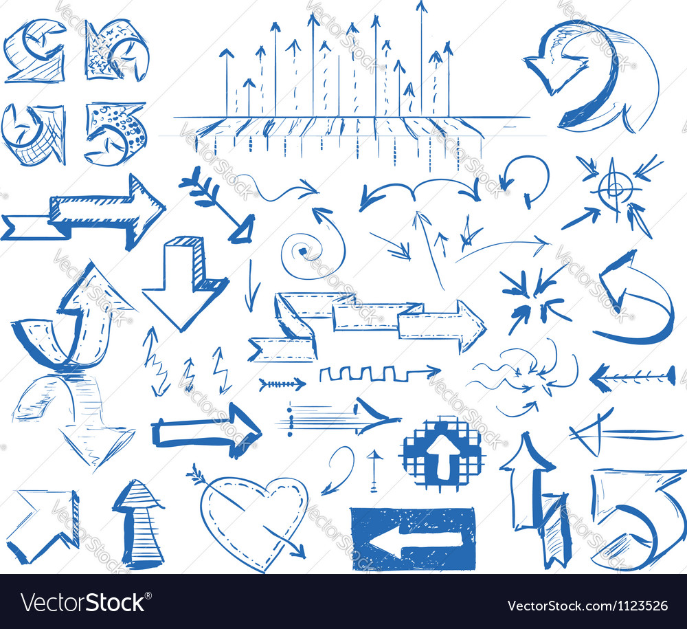Hand drawn arrows set vector | Price: 1 Credit (USD $1)