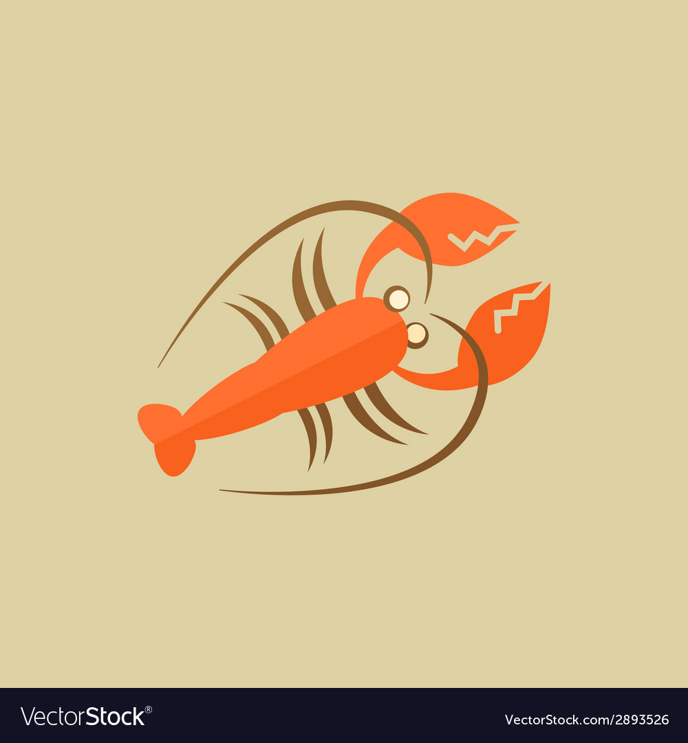 Lobster food flat icon vector | Price: 1 Credit (USD $1)