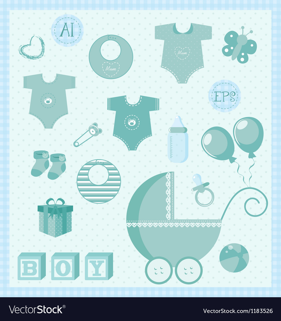 New born baby boy set vector | Price: 1 Credit (USD $1)