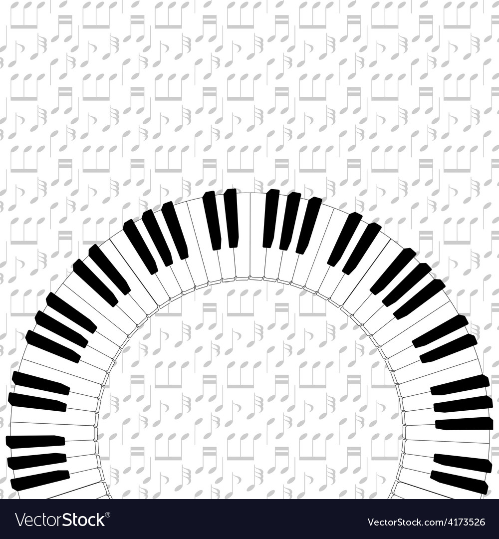 Piano keyboard on note backgorund vector | Price: 1 Credit (USD $1)