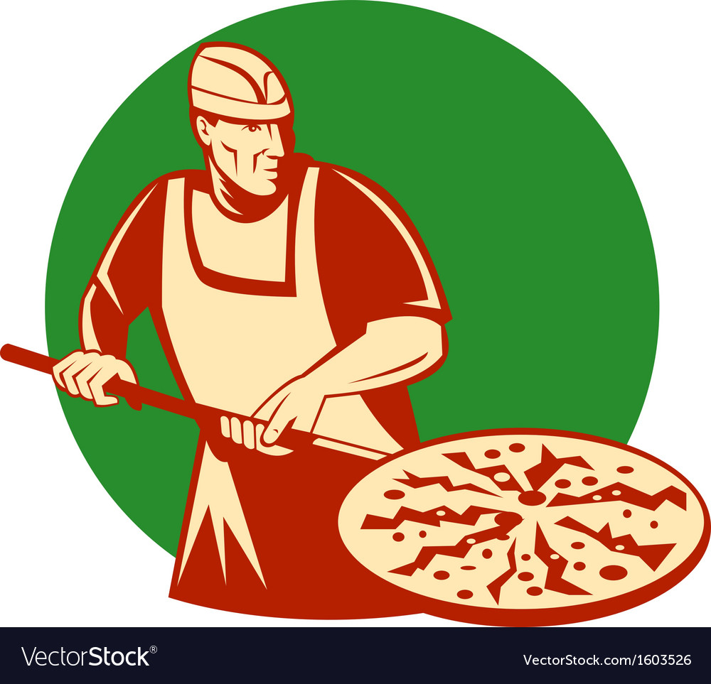 Pizza pie maker or baker holding baking pan vector | Price: 1 Credit (USD $1)