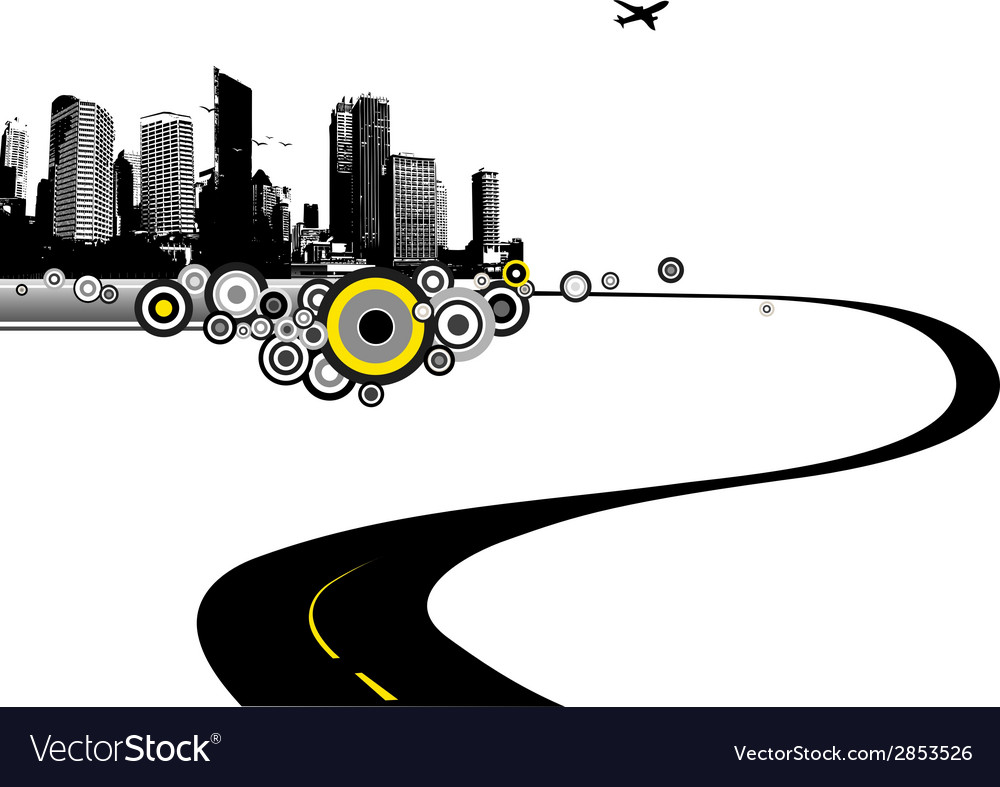 Road to city art vector | Price: 1 Credit (USD $1)