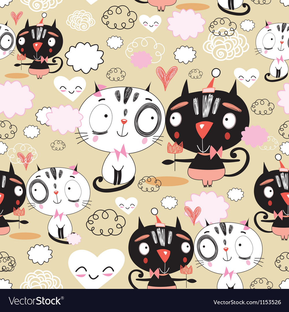 Texture of love kittens vector | Price: 1 Credit (USD $1)