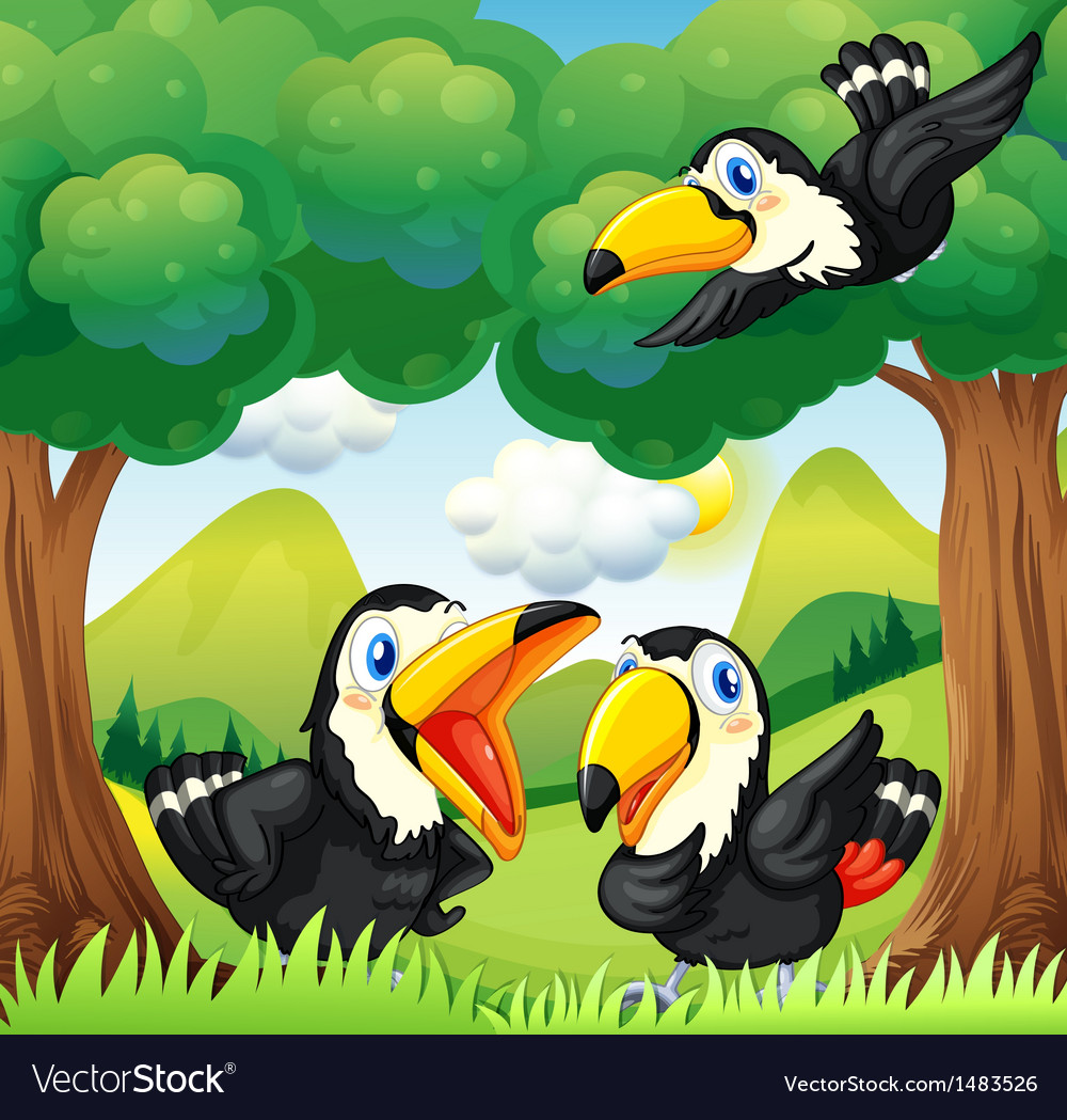 Three black birds at the forest vector | Price: 1 Credit (USD $1)