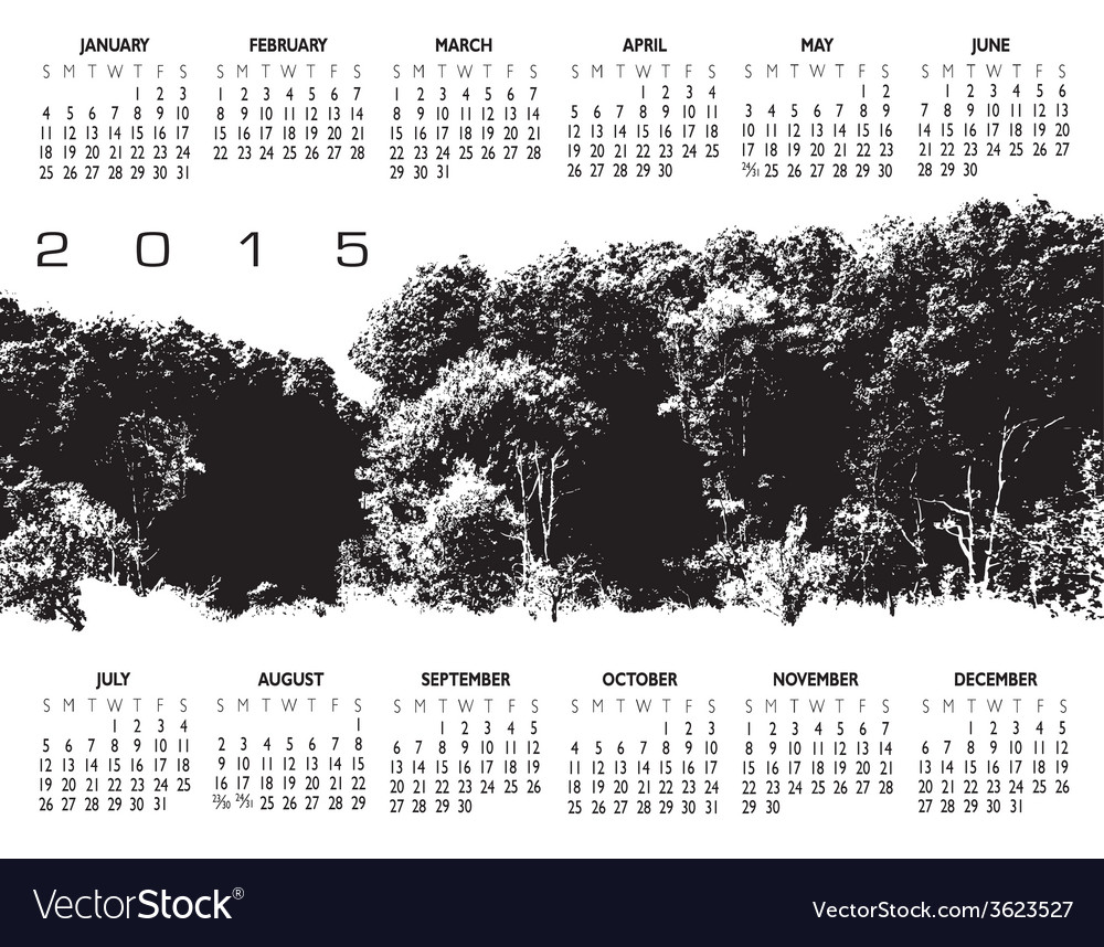 2015 woods calendar vector | Price: 1 Credit (USD $1)