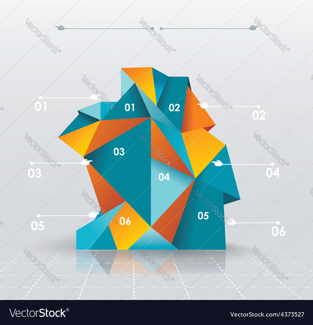 Business infographics polygonal design style can vector | Price: 1 Credit (USD $1)