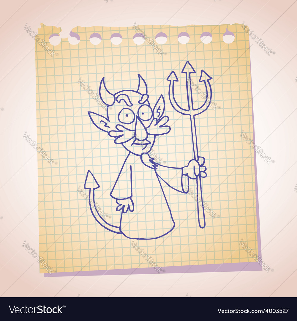 Devil character note paper sketch vector | Price: 1 Credit (USD $1)