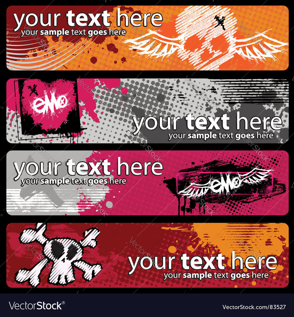 Emo banners vector | Price:  Credit (USD $)