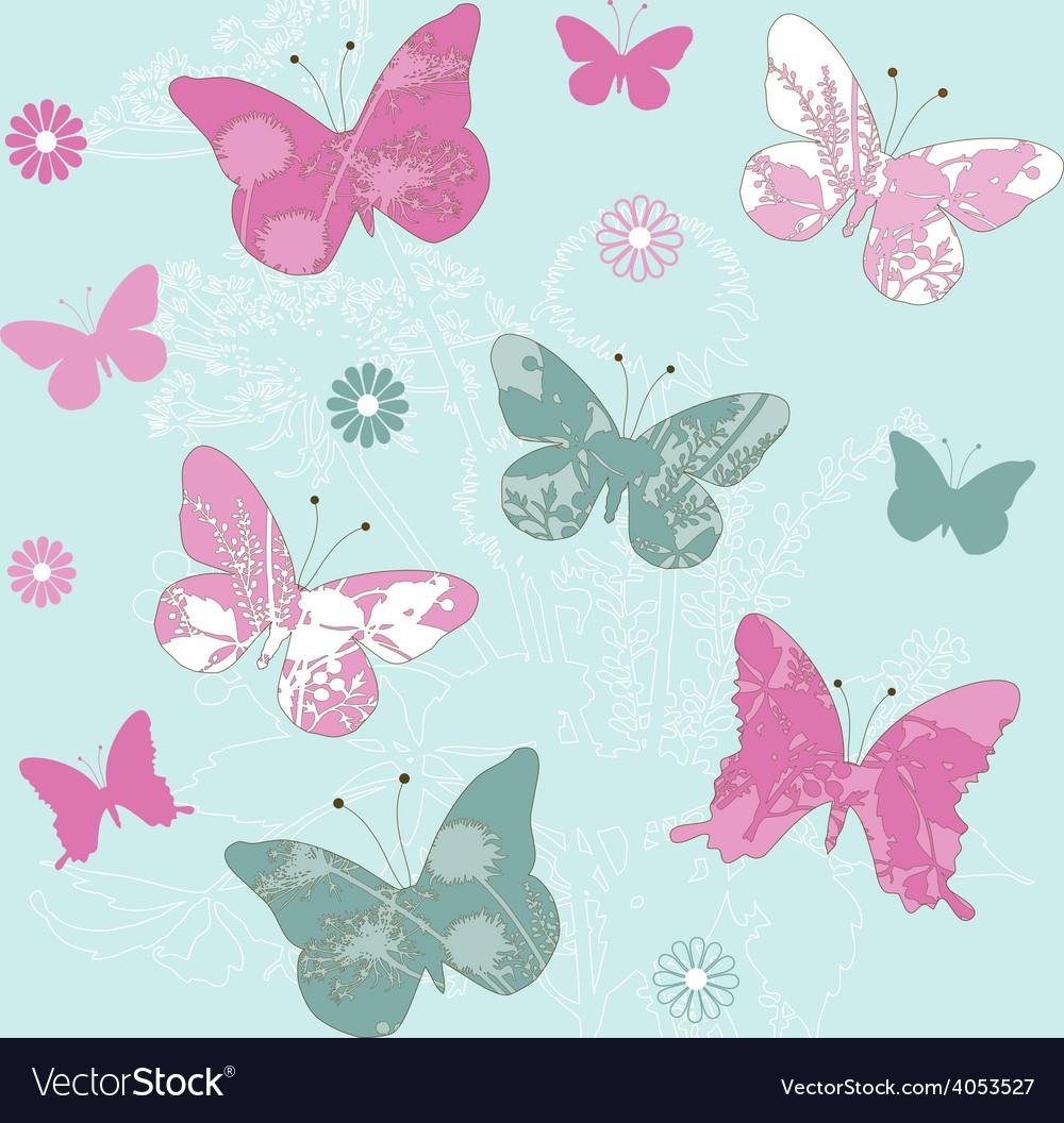 Flower butterflies vector | Price: 1 Credit (USD $1)