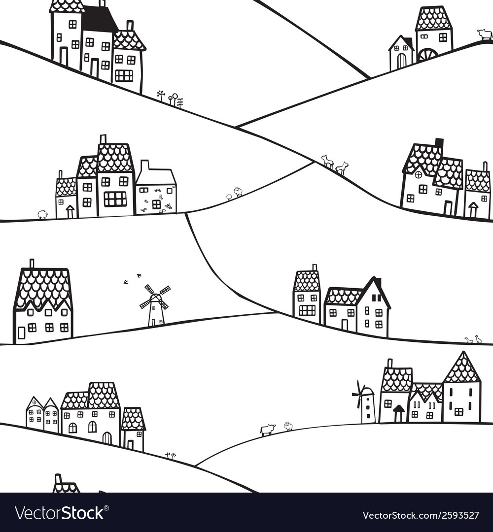 Hills and houses vector | Price: 1 Credit (USD $1)