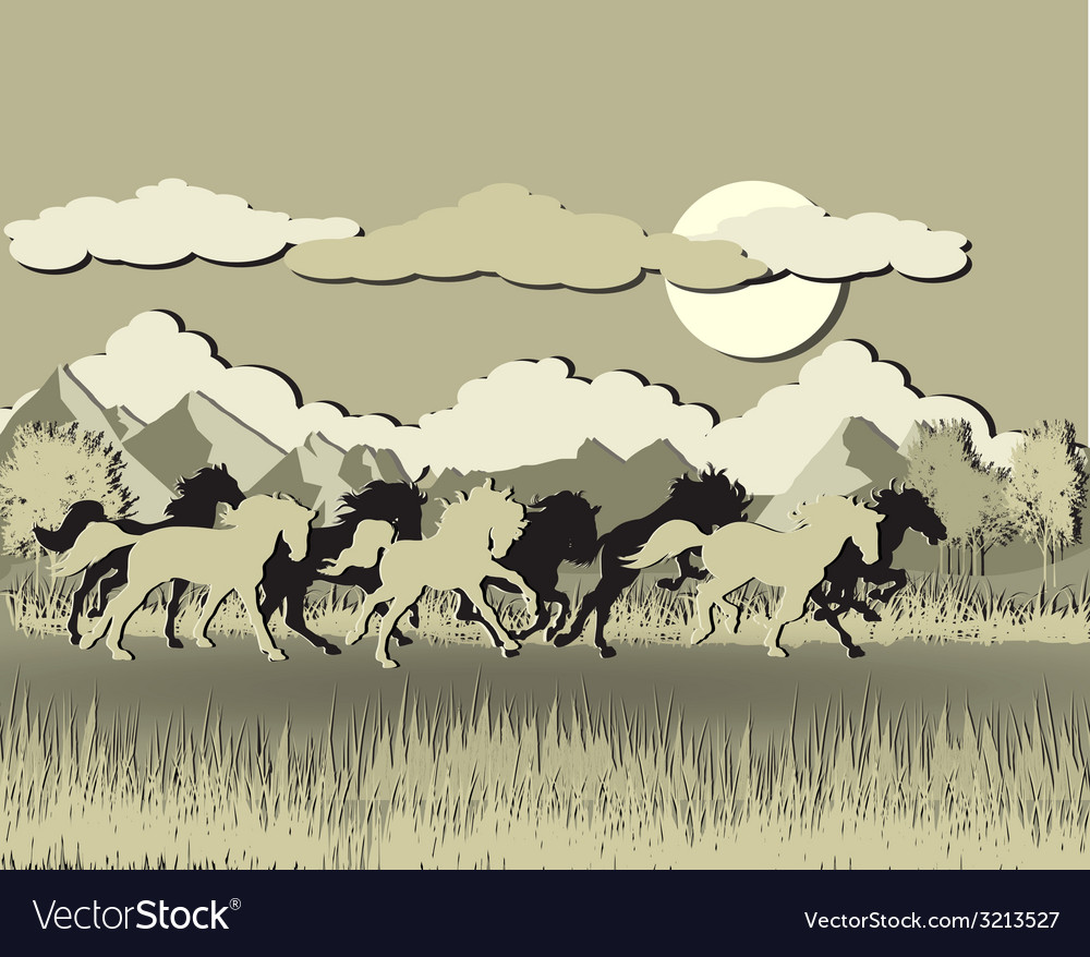 Horse and sun shine vector | Price: 1 Credit (USD $1)