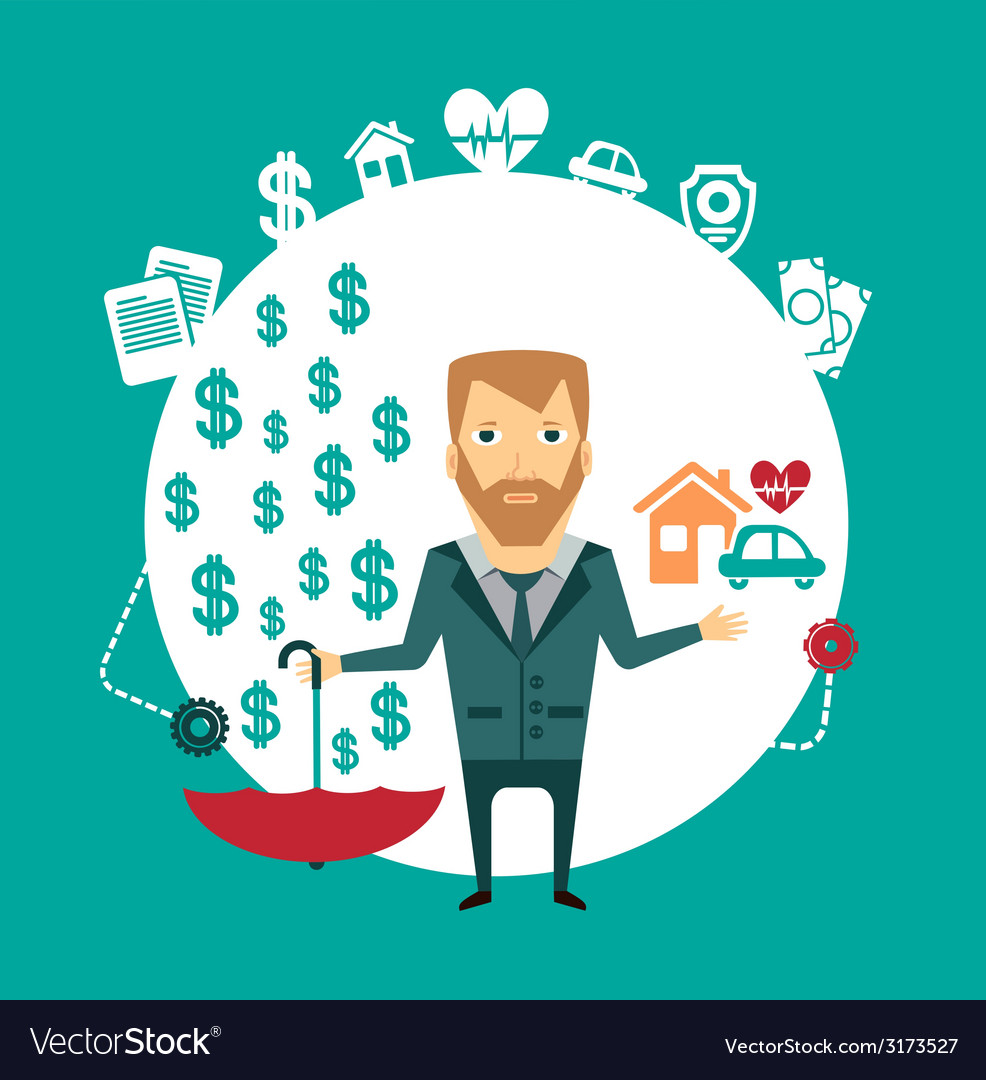 Insurance agent holding a house a car a heart and vector   Price: 1 Credit (USD $1)
